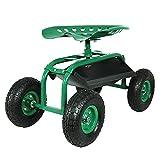 Sunnydaze Rolling Garden Cart with 360 Degree Swivel...