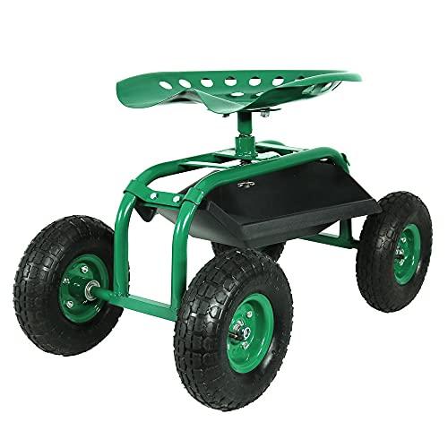 Sunnydaze Rolling Garden Cart with 360 Degree Swivel Seat & Tray, Green