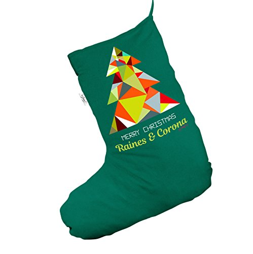 Personalizzato geometrico verde albero Jumbo Deluxe calza di Natale