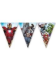 AMSCAN - Guirnalda de banderines de Los Vengadores para decoración de cumpleaños, 2,3 m, multicolor, PRS87971 , color/modelo surtido