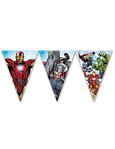 AMSCAN Festone Bandierine Tema Avengers Per Addobbi e Decorazioni Compleanno-2,3 mt, Multicolore, PRS87971