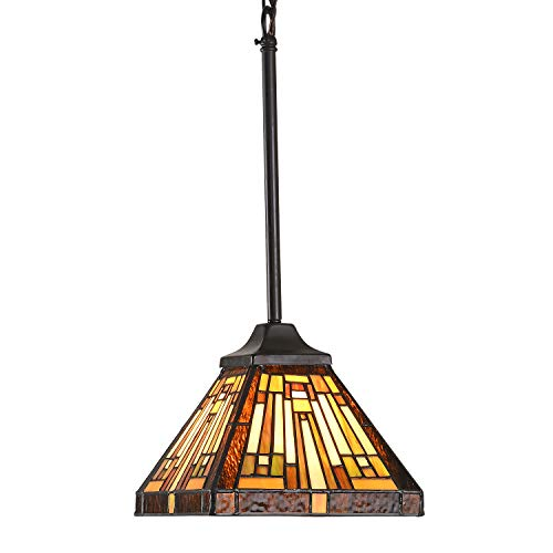 Capulina Tiffany Style Kitchen Island Lighting Hanging Lamp Pendant Light Stained Glass Mission Shade for Dining Living Room Hallway(65 x 8')