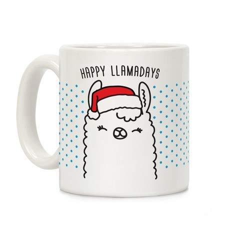 N\A Happy Llamadays Taza de café Taza de cerámica de 11 onzas Divertida y novedosa Taza de café Mejor Idea de Navidad Año Nuevo Vacaciones para Familiares Amigos Compañeros de trabaj