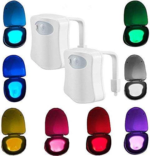 2 Pack Sporthomer Toilet Light Motion Sensor Activated LED Toilet Bowl Light 8 Colors Changing product image