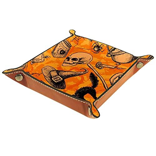 XiangHeFu Bandeja de Cuero Sombrero de Calavera de Halloween Almacenamiento Bandeja Organizador Bandeja de Almacenamiento Multifunción de Piel para Relojes,Llaves,Teléfono,Monedas