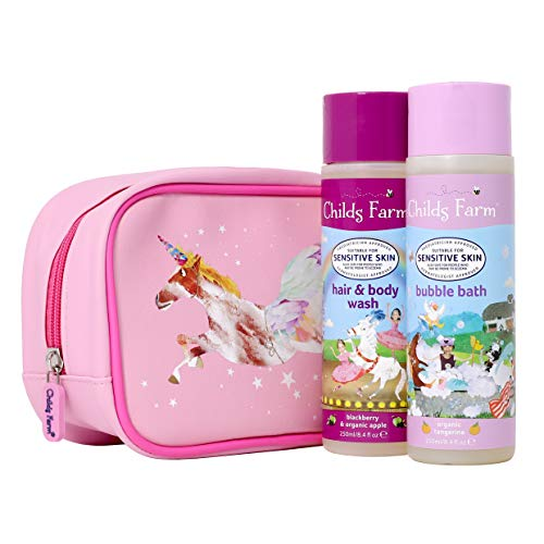 Childs Farm   Einhorn-Waschbeutel   Mandarine-Schaumbad und Brombeere & Apfel Haar & Body Wash 250 ml   empfindliche Haut   Geschenk Set für Kinder
