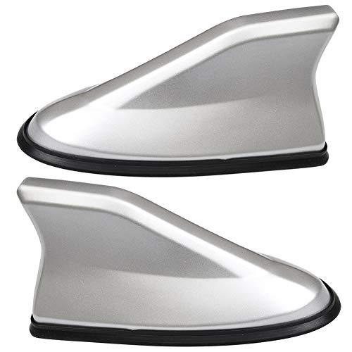XYDZ 2PCS Haifischflosse Dachantenne, Antenne Universal Auto Fin Dach Antenne FM/AM Funksignal Passend für Fast alle Autos Hochglanz - Silber