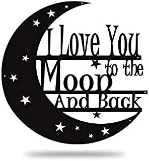 Steel Roots Decor Powder Coated Metal I Love You to The Moon and Back Wall Art Laser Cut Holes, 12 in (Black)