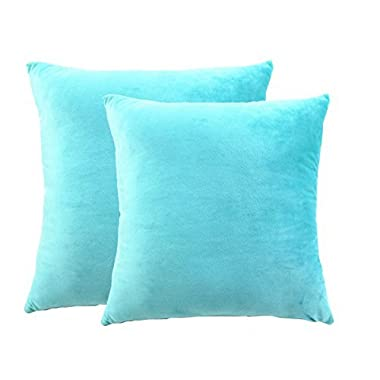 sykting Accent Pillow Covers Decorative 18 X 18 Inch Square Cushion Covers Set of 2 Super Soft Short Plush Solid Turquoise