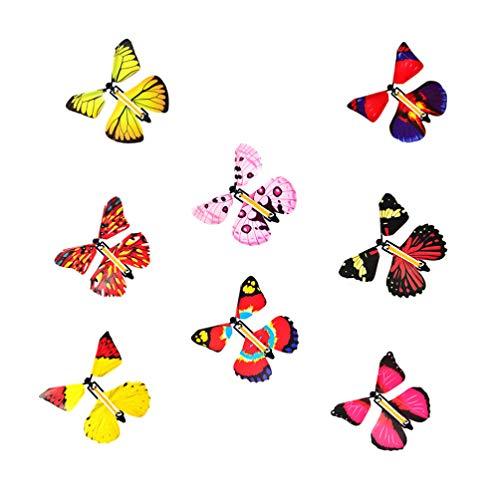 Toddmomy 12Pcs Magische Fee Fliegende Schmetterlingsband Angetrieben Aufziehschmetterling für Weihnachten Halloween Überraschung Geschenk Geburtstagsfeier Gunst Spielen Geschenk (Zufällige