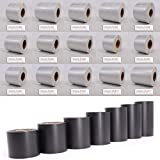 Thermoetiketten Thermotransferfolie Etiketten auf Rolle aus PET Polyester silber für Typenschilder oder Farbband aussen gewickelt (40 x 15mm)