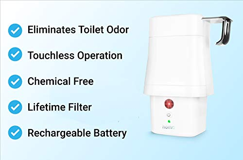 NoMO Air Purifier for Bathroom - Chemical Free Activated Charcoal Deodorizer, Eliminates Toilet Odors and Smells