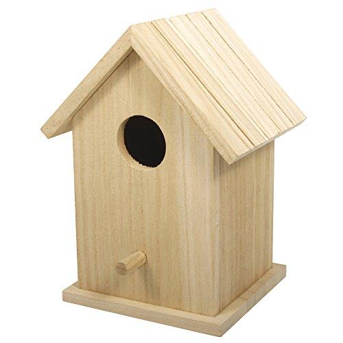 Rayher 62291000 Holz Vogelhaus Box, FSC zertifiziert, 12,5 x 10 x17 cm, zweiteilig, Vogelhaus zum Aufstellen, abnehmbares Dach