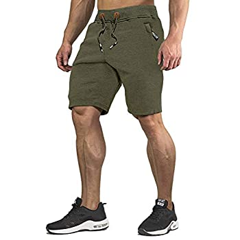 CRYSULLY Men Fitted Shorts Bodybuilding Workout Lifting Performance Shorts Elastic Waist Green