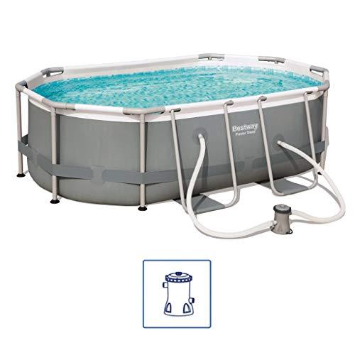 Bestway Power Steel Frame Pool oval mit stabilem Stahlrahmen im praktischen Komplett-Set, 300x200x84 cm