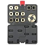Fafeicy 11 piezas/juego Kit de guía de enrutador, kit de guía de plantilla de enrutador de latón, con accesorio de enrutador adaptador de tuerca de bloqueo, para trabajos de recorte