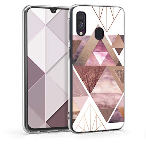 kwmobile Hülle kompatibel mit Samsung Galaxy A40 - Handyhülle Silikon Hülle - Glory Dreieck Muster Rosa Rosegold Weiß
