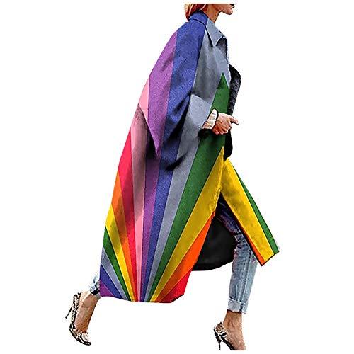 Janly Clearance Sale Abrigo de mujer, moda para mujer, chaqueta de bolsillo impresa, chaqueta de abrigo, abrigo largo, geometra impresa para Navidad (prpura-S)