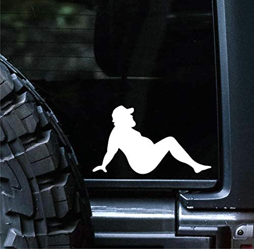 Sunset Graphics & Decals Mud Flap Man Decal Vinyl Car Sticker Funny Trucker Fat Joke Sexy | Cars Trucks Vans Walls Laptop | White | 5 inch | SGD000132