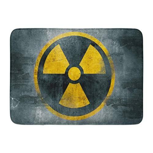 GOSMAO Felpudo de Entrada Alfombra Exterior para Puerta Impermeable Lavable AntideslizanteSímbolo Radiactivo Nuclear Amarillo Signo Reactor Peligro Radiación Residuos 40X60cm