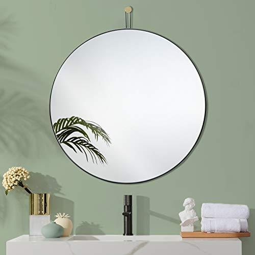 Harmati Espejo redondo negro montado en la pared, con marco de metal, espejo circular, gran espejo circular de 31.5 pulgadas, moderno decorativo para baño, sala de estar, dormitorio, entrada