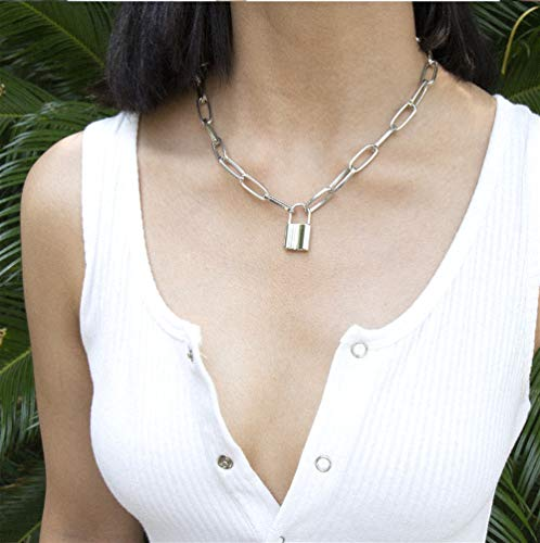Cathercing Collier avec pendentif en forme de cadenas - Longue chaîne en acier inoxydable - Style punk - Pour homme et femme - Bijou vintage - Argenté