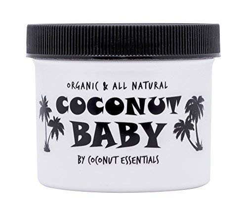 Coconut Baby Oil Organic Moisturizer - for Hair and Skin - Cradle Cap Treatment, Eczema, Psoriasis - Massage, Sensitive Skin, Diaper Rash, Stretch Marks - with Sunflower & Grape Seed Oils - 4 fl oz
