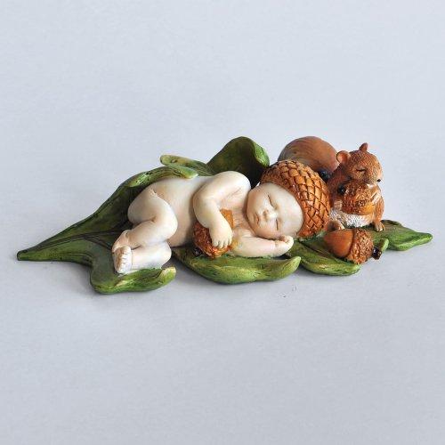 Top Collection Miniature Fairy Garden and Terrarium Sleeping Acorn Fairy Baby with Squirrel Statue