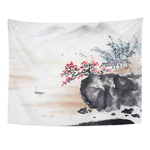 Japanese Cherry Blossom Oil Painting Art Tapisserie mural chambre dortoir decor