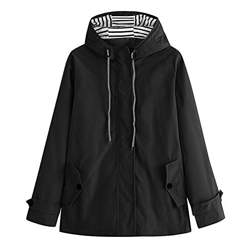 Dasongff Chaqueta de lluvia para mujer, ligera, cortavientos, con capucha, para exteriores, resistente al viento, impermeable, parka de lluvia, transpirable, ligera, chubasquero para exteriores