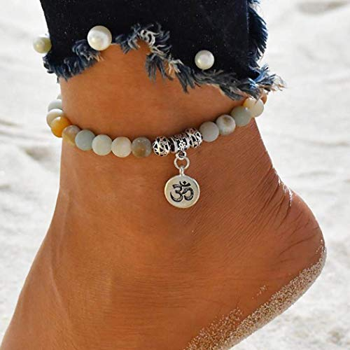 Gorais Boho Anklet Silver Planet Stone Pendant Ankle Bracelet Elastic Adjustable Foot Jewelry for Women and Girls(SET 1)