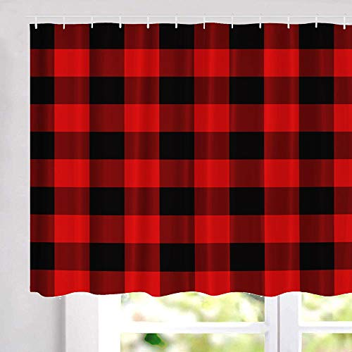 threetothree Plaid Kitchen Window Curtains, Water Repellent Small Window Curtains Red and Black Plaid Fabric Short Half Window Curtains for Bathroom Tub Laundry Room 28'' Set of Hooks, 1 Pair