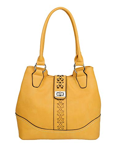 Borsa da donna elegante in morbida pelle sintetica doppio scomparto alla moda borsa shopper hobo bag con taglio laser, Giallo (Giallo), Medium