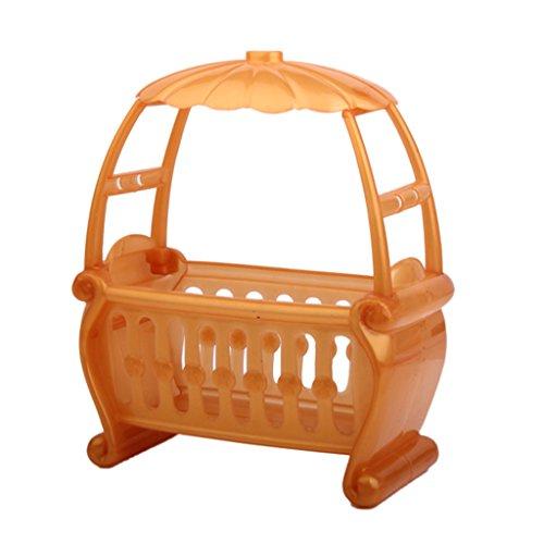 Lit à Baldaquin de Bébé Miniature pour Maison de Poupée - Couleur Aléatoire