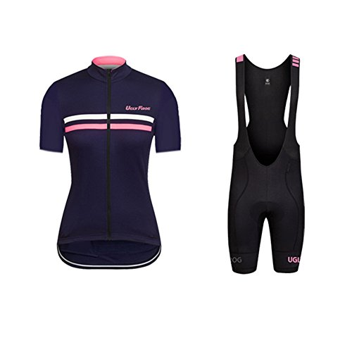 Uglyfrog+ Frauen Radfahren Kleidung Set Sommer Breathable Bequeme Kurzarm Trikot + Padded Riding Shorts Reiten Sportswear