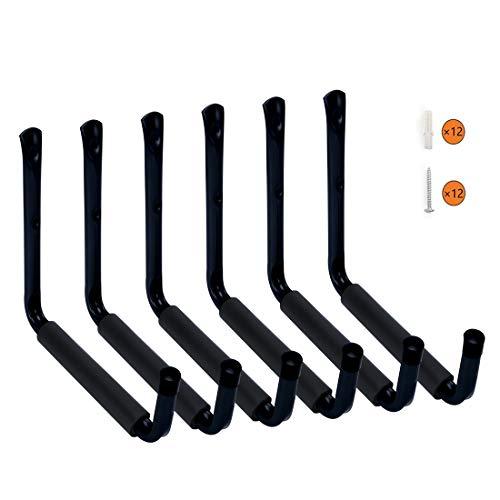 HauSun Heavy Duty 9' Arm Large Indoor Outdoor Storage Hooks Hangers with EVA Protector, Wall Mount Garage Hangers & Organizer for Ladders,Tools,Bikes,Jeep Door Hanger| 6 Pack