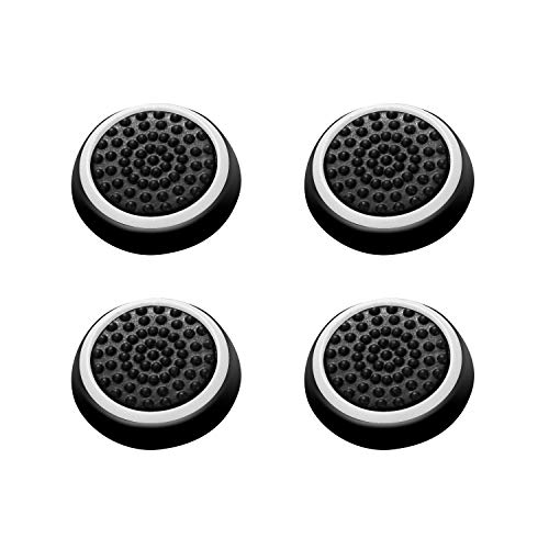 Insten [2 Pair / 4 Pcs] Wireless Controllers Silicone Analog Thumb Grip Stick Cover, Game Remote Joystick Cap Compatible with PS4 Dualshock 4/ PS3 Dualshock 3/ PS2 Dualshock/Xbox One/360, Black/White