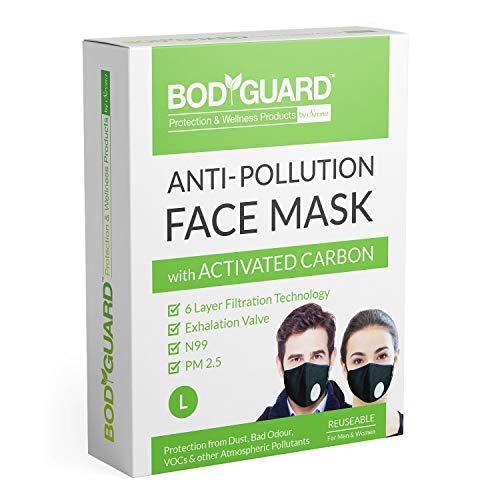 Bodyguard N99 + PM2.5 Cotton Reuseable Face Mask (Black, With Valve, Pack of 1) for Men & Women