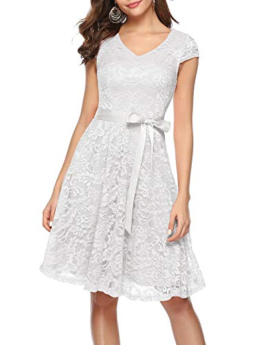 BeryLove Damen V-Ausschnitt Kurz Brautjungfer Kleid Cocktail Party Floral Kleid BLP7006WhiteM