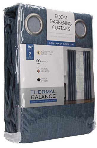 Thermal Balance 52x84 Room Darkening Curtains 2 Panels Bristol Blue Mineral NEW