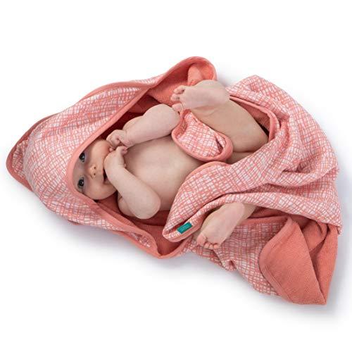 Urban Kanga Toalla de Baño con Capucha Doble faz para Bebé Capa de Baño Infantil Algodón Muselina y Bucles (Rosa)