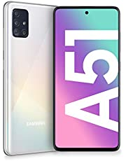 Samsung Galaxy A51 Smartphone, display 6,5 inch Super AMOLED, 4 camera's achter, 128 GB uitbreidbaar, RAM 4 GB, batterij 4000 mAh, 4G, Dual SIM, Android 10, 172 g, (2020) [Italiaanse versie] wit
