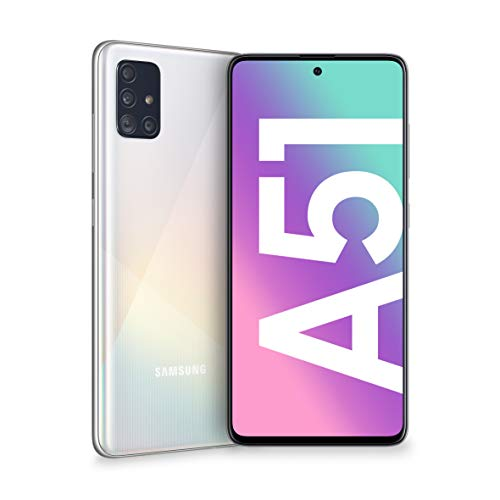 "Samsung Galaxy A51 Smartphone, Display 6.5"" Super AMOLED, 4 Fotocamere Posteriori, 128 GB Espandibili, RAM 4 GB, Batteria 4000 mAh, 4G, Dual Sim, Android 10, [Versione Italiana], Prism Crush Bianco"