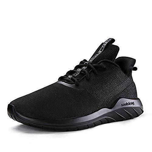 Soulsfeng Zapatos Deportivos Zapatillas Zapatos de Hombres para Mujer Calzado Deportivo Zapatos Planos Zapatos con Cordones(Negro 38EU)