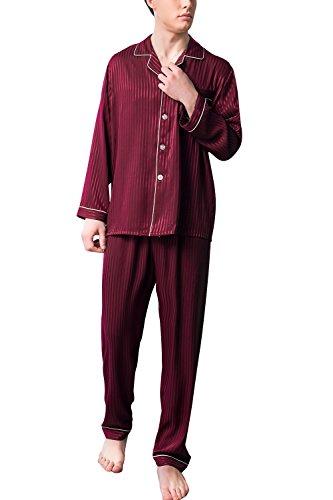 Dolamen Herren Schlafanzug, 2018 Satin Paare lang Zweiteiliger Pyjamas Frühling Sommer, Herren Schlafanzug mit Überprüfen Sie geknöpftes Hemd Kragen mit Tasche L XL XXL (Large, Red)