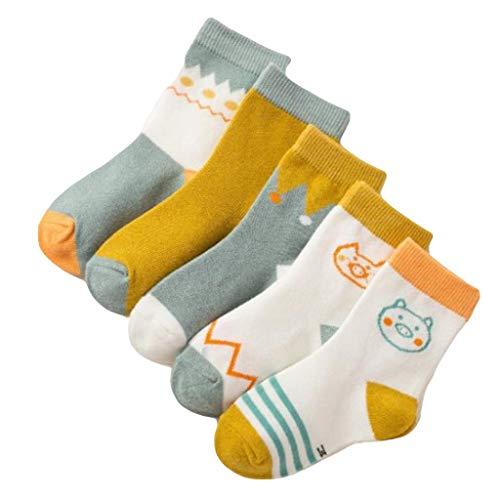 Huacat Kinder Baumwolle Cartoon Nähte Socken für Mädchen Jungen 5 Pack