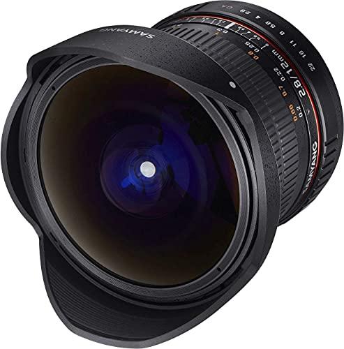 Samyang F1112110101 - Objetivo fotográfico DSLR para Fuji X (Distancia Focal Fija 12mm, Apertura f/2.8-22 ED AS NCS, Ojo de Pez), Negro
