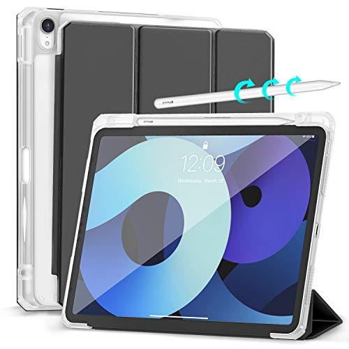 Hoidokly Funda para iPad Air 4.ªGeneración 10,9 Pulgadas 2020 con Soporte Incorporado de Pencil, Carcasa con Soporte Función, Trasera Transparente Case Cover con Auto Sueño Estela - Negro