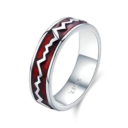 GYJUN Frauen Ringe, 925 Sterling Silber Glowing Heartbeats Roter Emaille Runde Fingerring für Frauen Engagement Schmuck Geschenk,7#