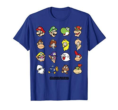 Nintendo Super Mario Character Faces Grid Graphic T-Shirt